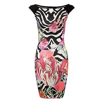 Ladies Black Cream Floral Rose Tulip Stretch Bodycon Women's Short Dress
