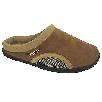 Coolers Mens Fleece Lined Part-Herringbone Mule Slippers