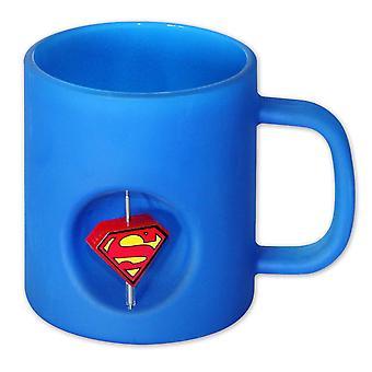 Taza Superman con rotación de cristal 3D logo azul. En un hermoso estuche con ventana.