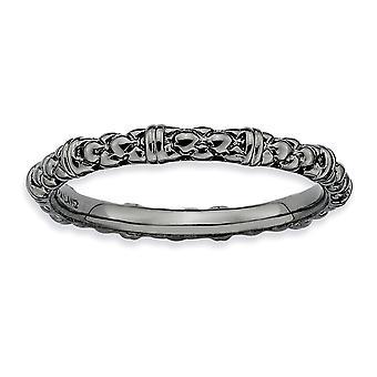 925 Sterling sølv polert mønstret Ruthenium plating stables uttrykk svart belagt kabelring smykker gaver til