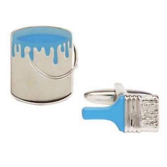 Zennor Paint and Painbrush Cufflinks - Silver/Blue