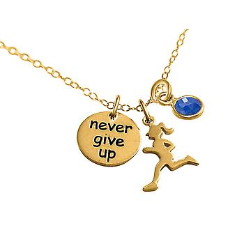 Gemshine Chain Runner-ge aldrig upp 925 silver, guldpläterad, Rose jogging safir