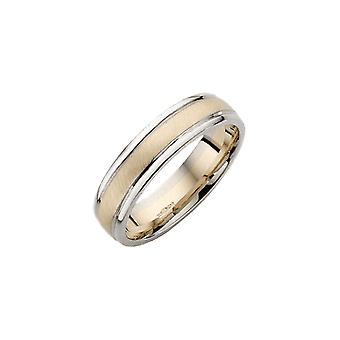 Tähti vihkisormuksista 9ct valkoinen & keltainen kulta tuomioistuin muoto 5 mm Wedding Ring