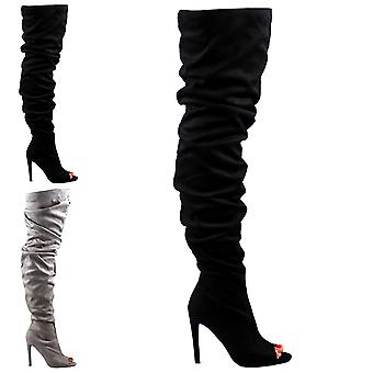 Womens Stiletto Fashion Peep Toe Dress Slouch Fitted Thigh High Boots UK 3-10