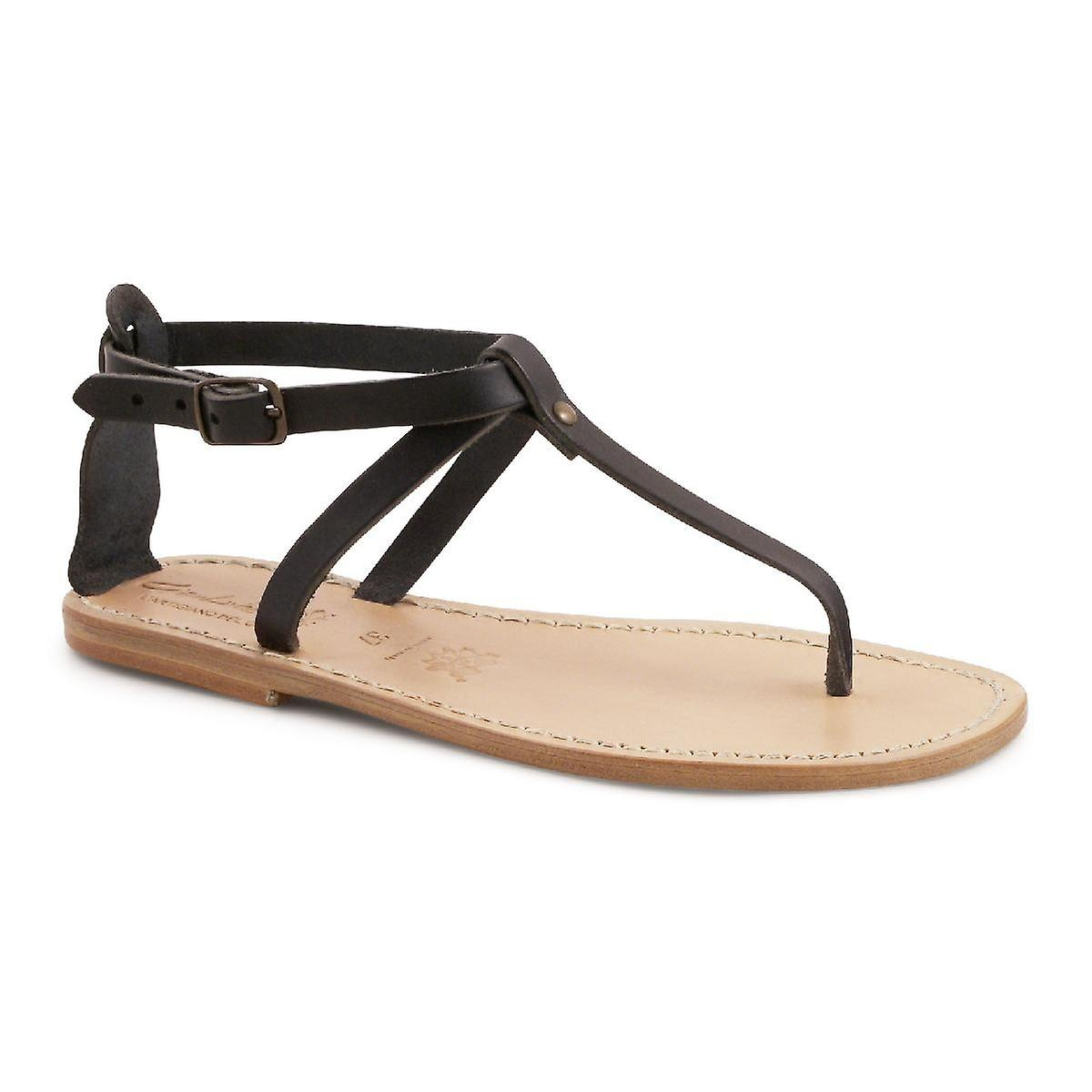 Handmade t-strap leather flat sandals for women 0RXjn