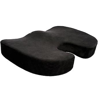 Memory Foam Seat Cushion for Car Seats Home Office & Travel |The Ultimate in Comfort | Helps with Lower Back & Coccyx Pain | BLACK