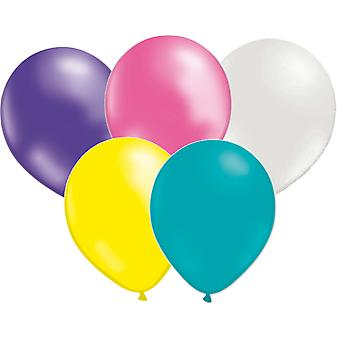 Mix Balloons 10-pack-pink, pearlemowhite, purple, yellow and turquoise