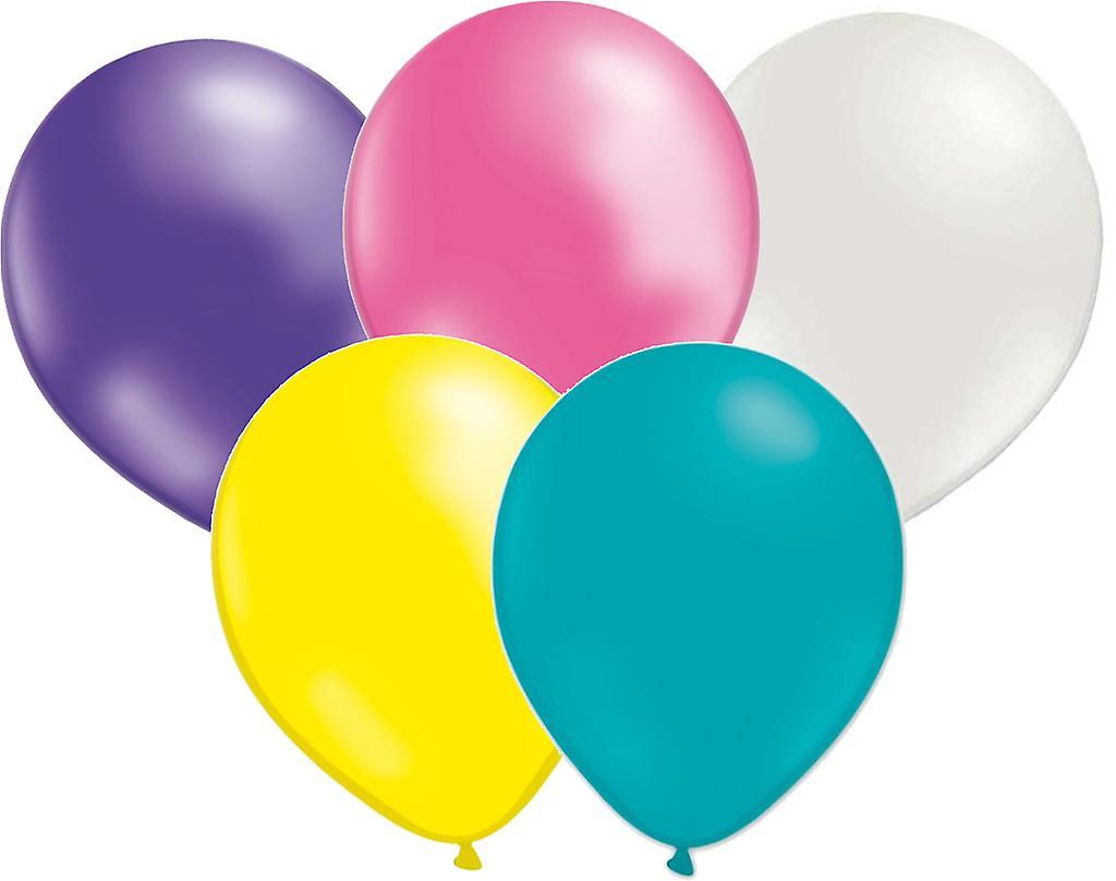 Mix ballonger 10- pack - Rosa, Pärlemovit, Lila, Gul och Turkos