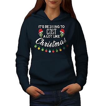 Noel Tatili Kadınlar NavyHoodie   Wellcoda