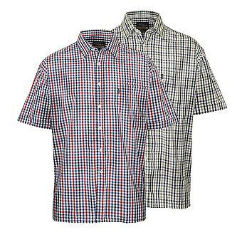 Mestari miesten Doncaster rento lyhythihainen paita (kpl pakkaus 2)