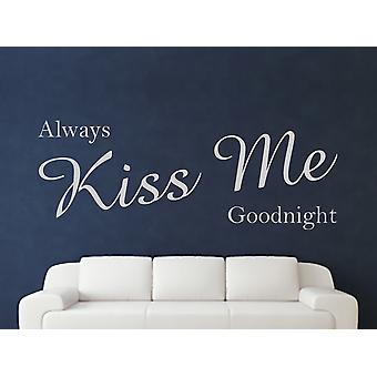 Baiser toujours moi bonne nuit Wall Art autocollants - Gris