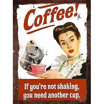 Vintage Metal Wall Sign - Coffee!