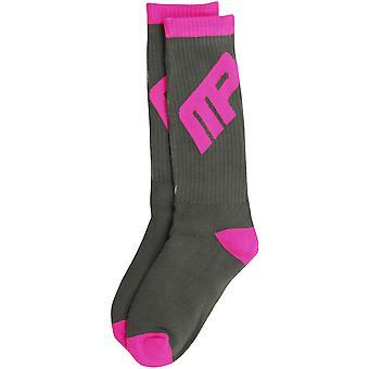 MusclePharm Mens MP Crew Socks - Gray/Pink