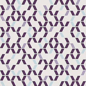 Retro purpurowy turkusowy biały geometryczne tapeta teksturowanej lekko luksusowych wnętrz Rasch