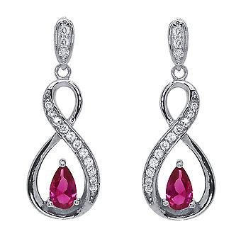 Ah! Jewellery Ribbon Twist Earrings Fuchsia Pear & Clear Crystals From Swarovski