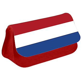 Netherlands Flag Printed Design Pencil Case for Stationary/Cosmetic - 0124 (Red) by i-Tronixs
