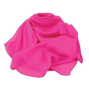 Eternal Collection Plain Fuchsia Pink Oblong Pure Silk Chiffon Scarf