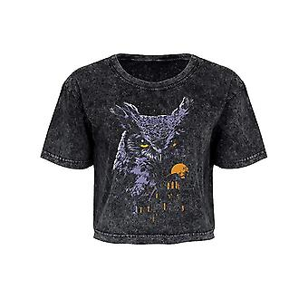 Unorthodox Collective Womens/Ladies Nocturnal Guardian Acid Wash Oversized Cropped T-Shirt