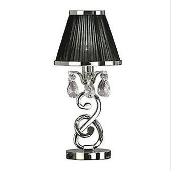 Oksana nikkel lille bordlampe med sort skygge - interiør 1900 63525