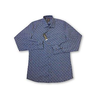 Olyp level 5 body fit shirt in navy anchor pattern