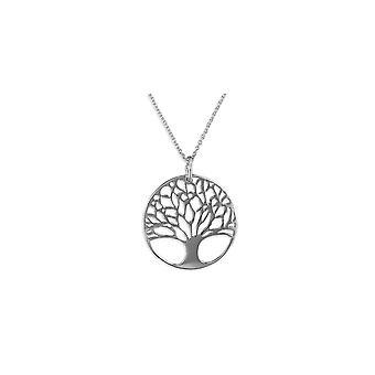 Eeuwigheid Sterling zilveren ronde boom van het leven hanger en ketting
