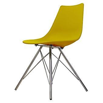 Fusion Living icônico mostarda plástico jantando cadeira com pernas de metal cromado