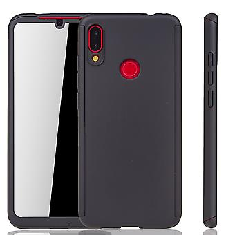 Xiaomi Redmi Note 7 Phone Case Protection-Case Full-Cover Tank Protection Glass Zwart