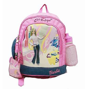 Малый рюкзак - Барби - ж / Бутылка для воды - Розовый джинсовый Новая школьная сумка 15748