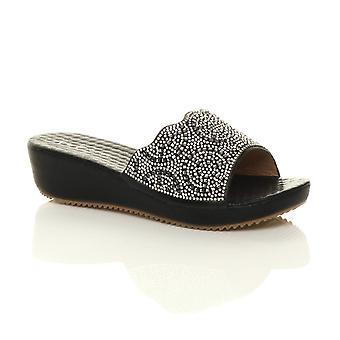 Ajvani naisten puoli välissä kiila kantapää Diamante lipsahdus Platform ilta sandaalit