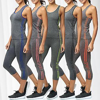 Women's Two Piece Sport Suit Combi Set High Waist Legginsy Fitness Top Training