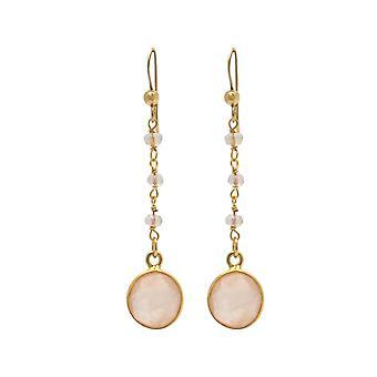 Gemshine örhängen med rosenkvarts ädelsten droppar i 925 silver eller guldpläterad