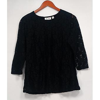 Denim & Co. Kobiety's Top 3/4 Rękaw all over Lace Top Czarny A275243