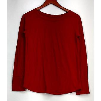 Gilligan & O'Maley Long Sleeve Solid Knit Pajama Set Red Womens