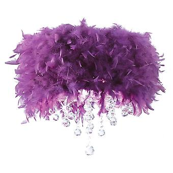 Diyas Ibis Ceiling With Purple Feather Shade 3 Light Polished Chrome / Crystal