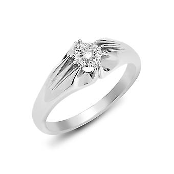 Jewelco London Men's Solid 9ct White Gold Gypsy Set Round H I2 0.1ct Diamond Gypsy Solitaire Ring 8mm
