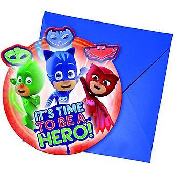 PJ Masks Pyjamahelden Party Einladungskarten 6 Stück Kindergeburtstag Mottoparty