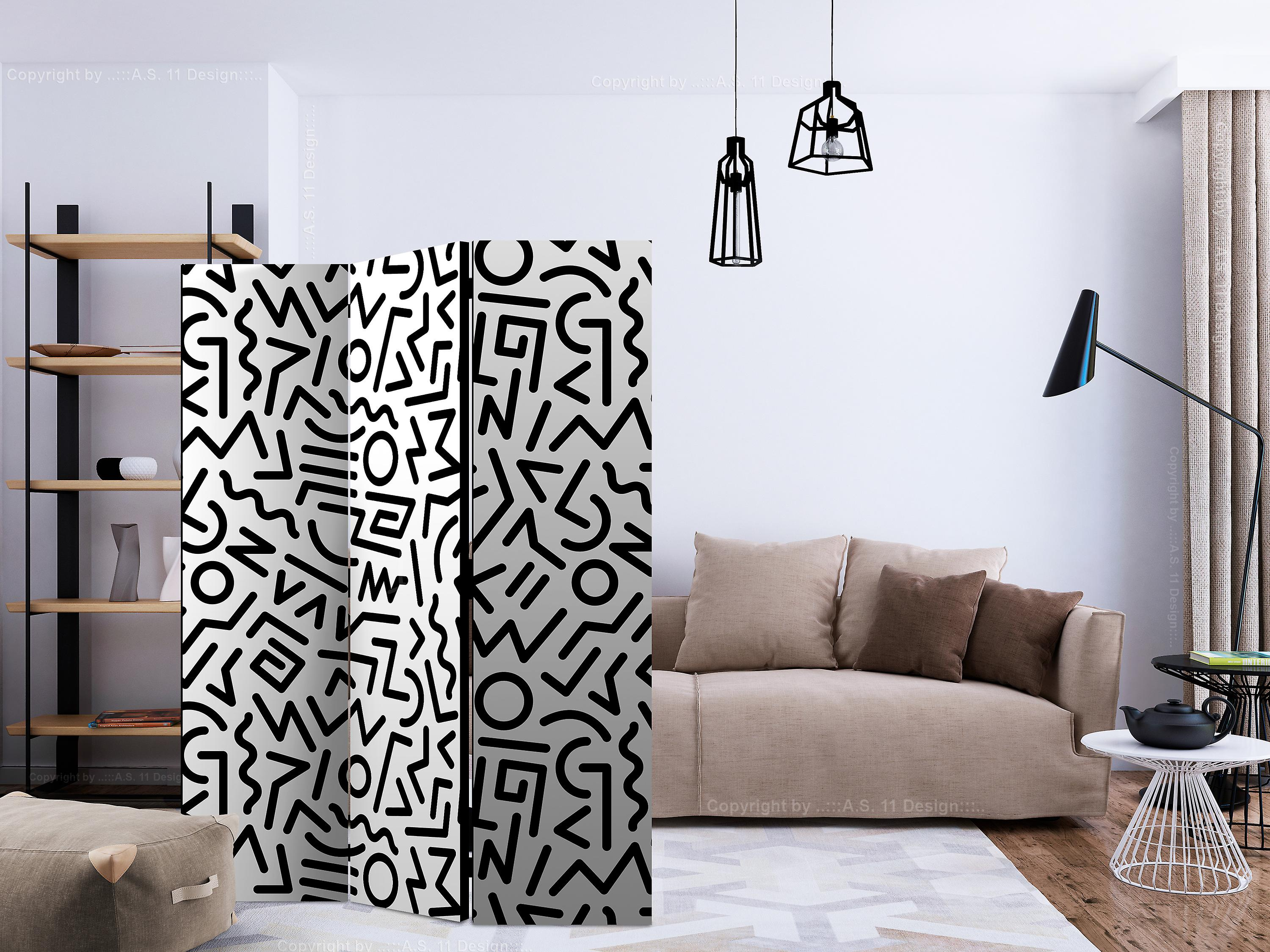 Paravent 3 volets - Black and White Maze [Room Dividers]