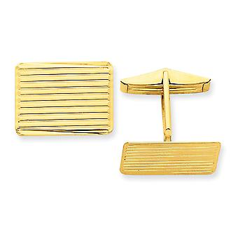 14k Yellow Gold Polished Not engraveable Cuff Links Jewelry Gifts for Men - 8.0 Grams