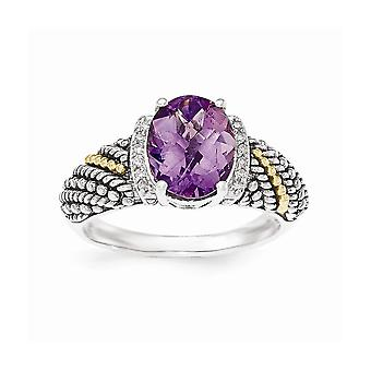 925 Sterling Silver With 14k Amethyst and Diamond Ring Jewelry Gifts for Women - Ring Size: 6 to 8