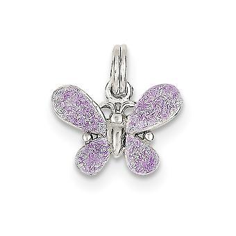 925 sterling silver solid öppen rygg lila emalj polerad fjäril charm-1,3 gram