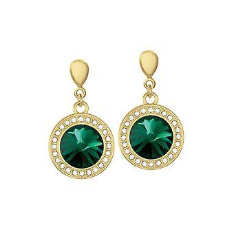 Wieczna kolekcja Viva Emerald Green Austriacki Kryształowy Złoty Ton Drop Przebite kolczyki