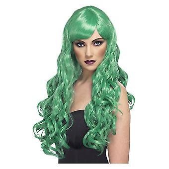 Pragnienie damskie Wig zielone Fancy Dress akcesorium