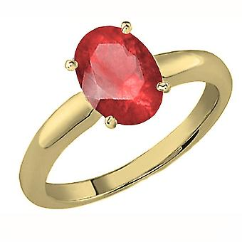 Dazzlingrock Collection 18K 9x7 MM Oval Cut Ruby Ladies Solitaire Bridal Engagement Ring, Yellow Gold