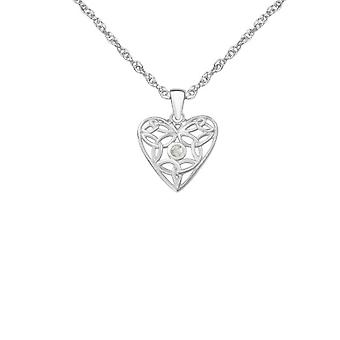 Celtic Holy Trinity Knots Love Heart Shaped Necklace Pendant - Cubic Zirconia - Includes A 18