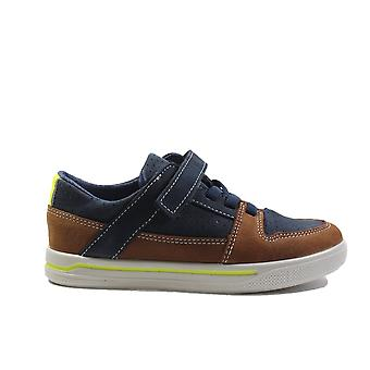 Ricosta Ted 4023100-171 Navy/Tan Nubuck Leather Boys Bungee Lace/Rip Tape Casual Trainer Shoe