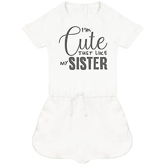 I'm Cute Just Like My Sister Baby Playsuit