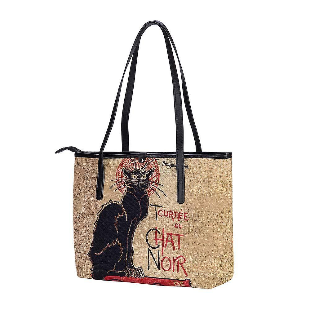 Steinlen - tournée du chat noir shoulder tote bag by signare tapestry / coll-art-ts-chat