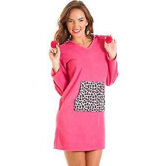 Camille Camille Womens Ladies Fleece Hooded Nightshirt Pink Leopard Print Pocket Size 8-18