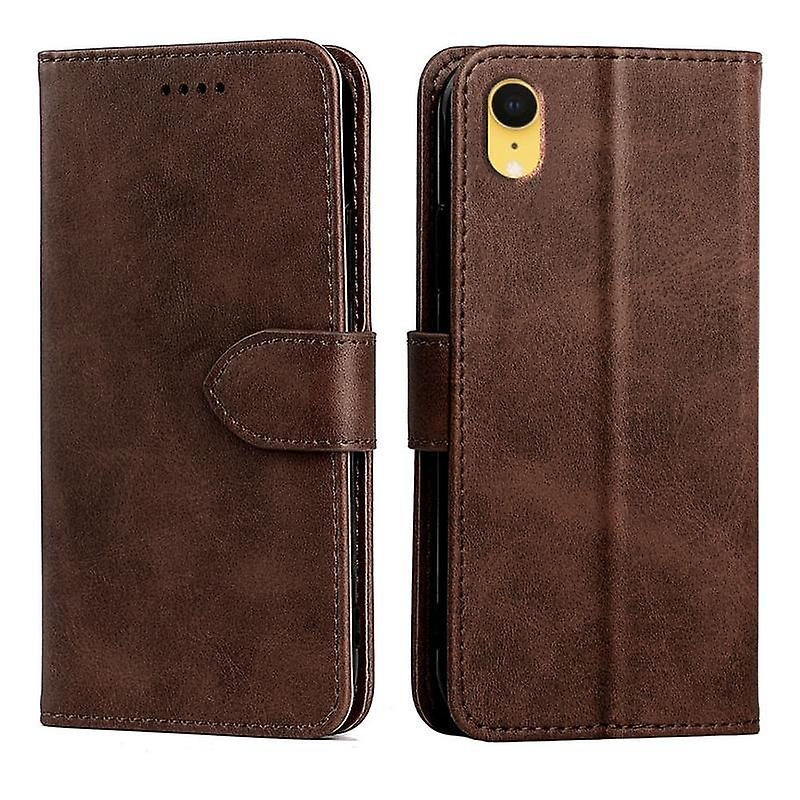 CaseGate phone case for Apple iPhone XR case cover - in brown - lock, stand function and card compartment
