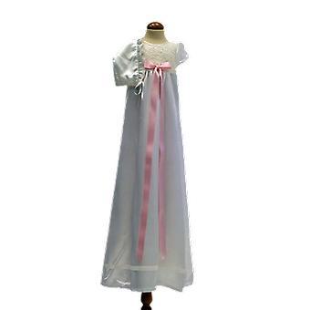 Dopklänning Och Dophätta I Off White, Rosa Rosett. Grace Of Sweden